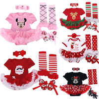 4pcs/set Christmas Tree Baby Girls Clothes jumpersuit+socks+band+shoes New Year Bebe Gift First Rompers Costumes 3 6 9 12 18 24M
