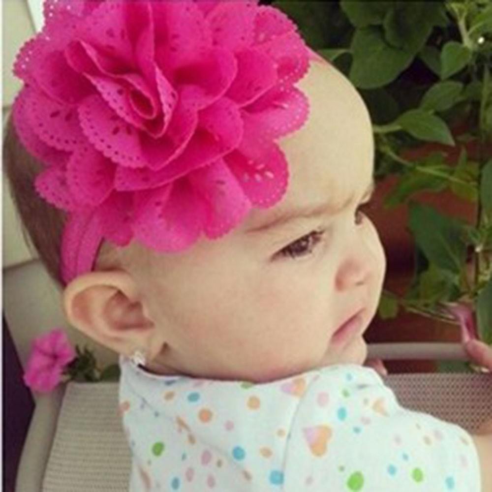 Infant Baby Girls Lace Flower Headband Hair Bow Band Headwear Accessories