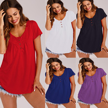 Summer Womens T-Shirts harajuku Casual Short Sleeve Loose Solid Color Button Pleated Tunic  v-neck female pullover tops