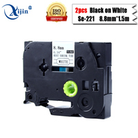 2 stücke Hse-221 hse221 kompatibel brother p touch etikettenband schrumpfrohre 8,8mm * 1,5 mt schwarz auf weiß