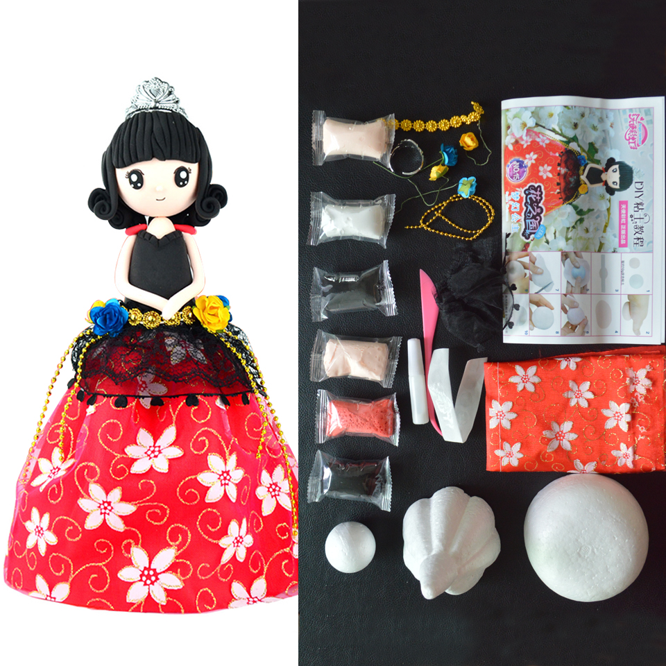 Fluffy Slime Box Set Slime Supplies Soft Polymer Clay Doll With Dress And Glue For Slime DIY Education Craft Handwork For Girl