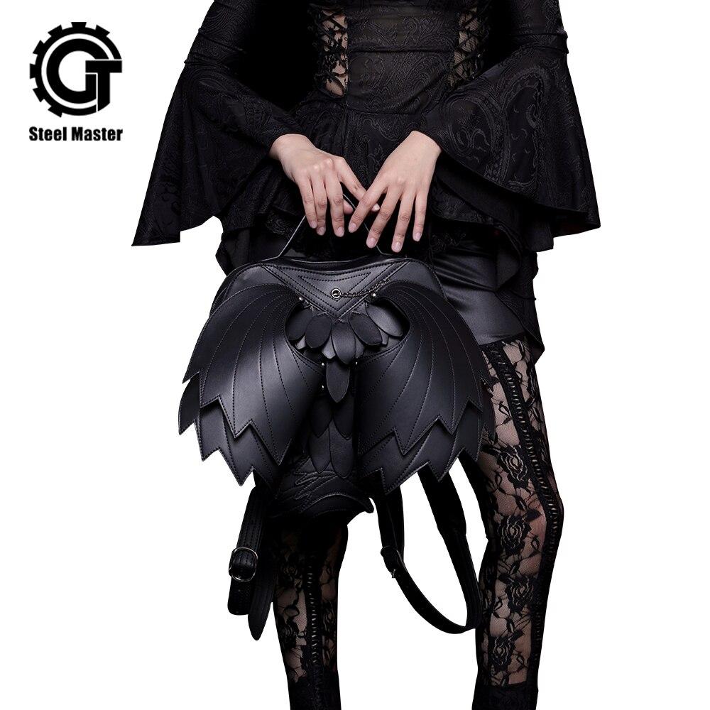 Punk Aile Sac À Dos En Cuir Gothique Femmes Hommes Noir Fantôme Monstre Vampire Rétro Sac À Dos Steampunk Mode Voyage Casual Sacs Nouvelle