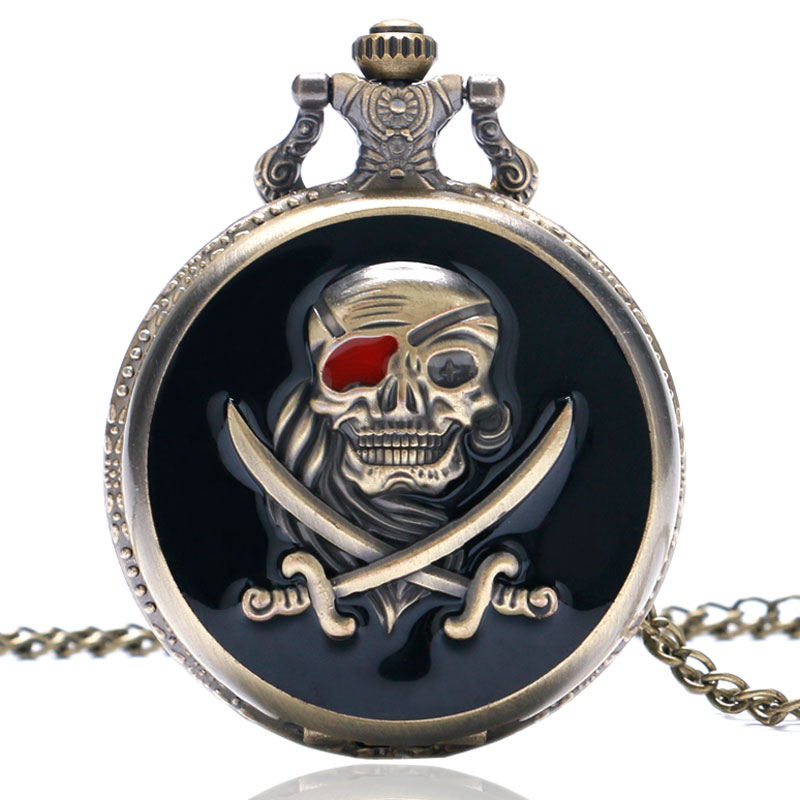 Antique Cool Design Pirates Skull In One Piece Steampunk Necklace Pendant Chain Quartz Pocket Watch P419