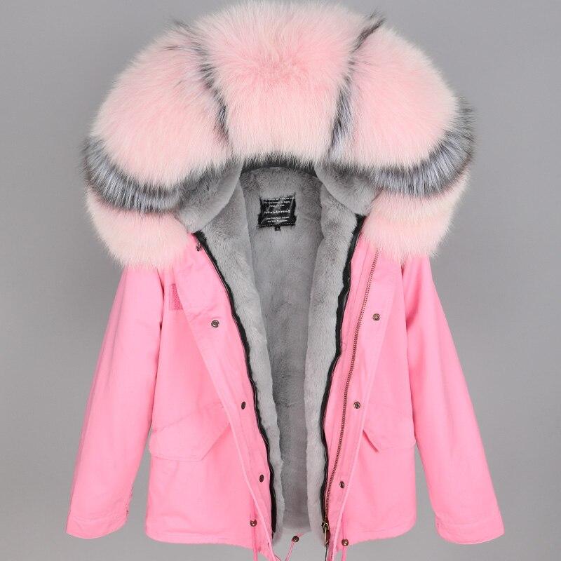 2018 размера плюс зимняя женская куртка с натуральным мехом, короткая куртка с воротником из натурального меха енота, парка с подкладкой из кр... - 3