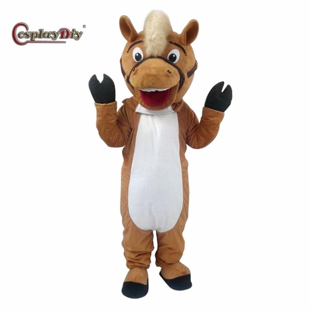 CosplayDiy Unisex Plush Horse Mascot Costume Adult Cosplay Suit Fancy Dress For Halloween Christmas Custom Made J10
