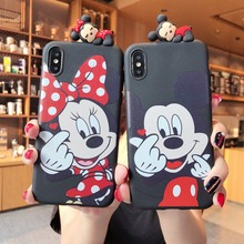 3D Mickey Minnie Mouse Phone Case for iPhone 6 6s 7 8 Plus X XS XR MAX Soft Silicone TPU Sweethearts Cover Coque
