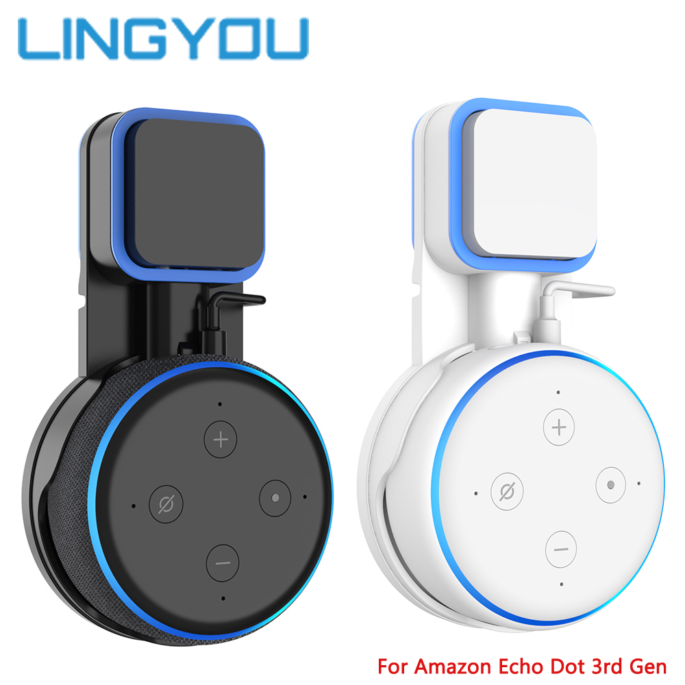 100% Original Outlet Wall Mount Stand Hanger With Cable Winder For Amazon Echo Dot 3rd Gen Plug In Kitchen Bathroom Bedroom