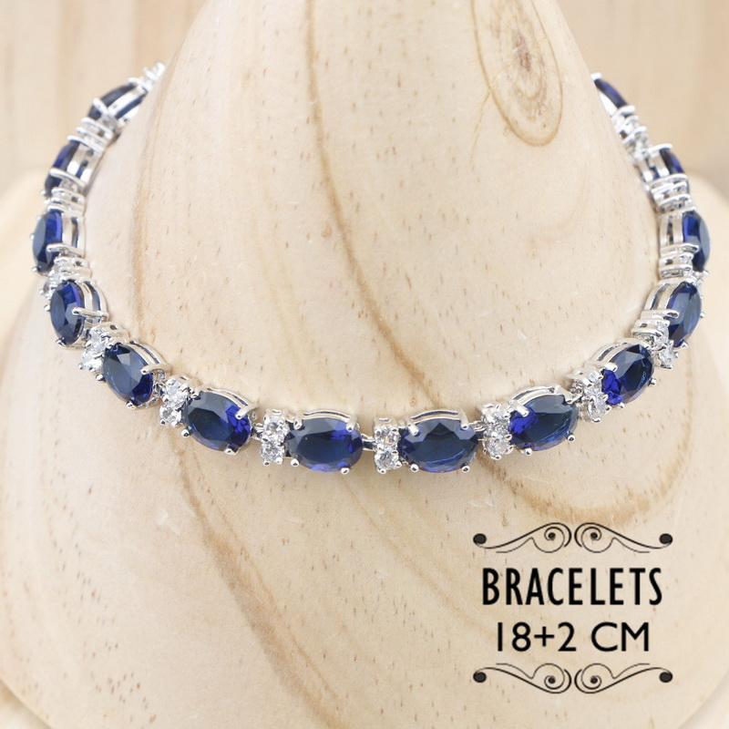 Rectangle Blue Cubic Zirconia  925 Sterling Silver Jewelry Sets For Women Earrings/Pendant/Necklace/Bracelet 5