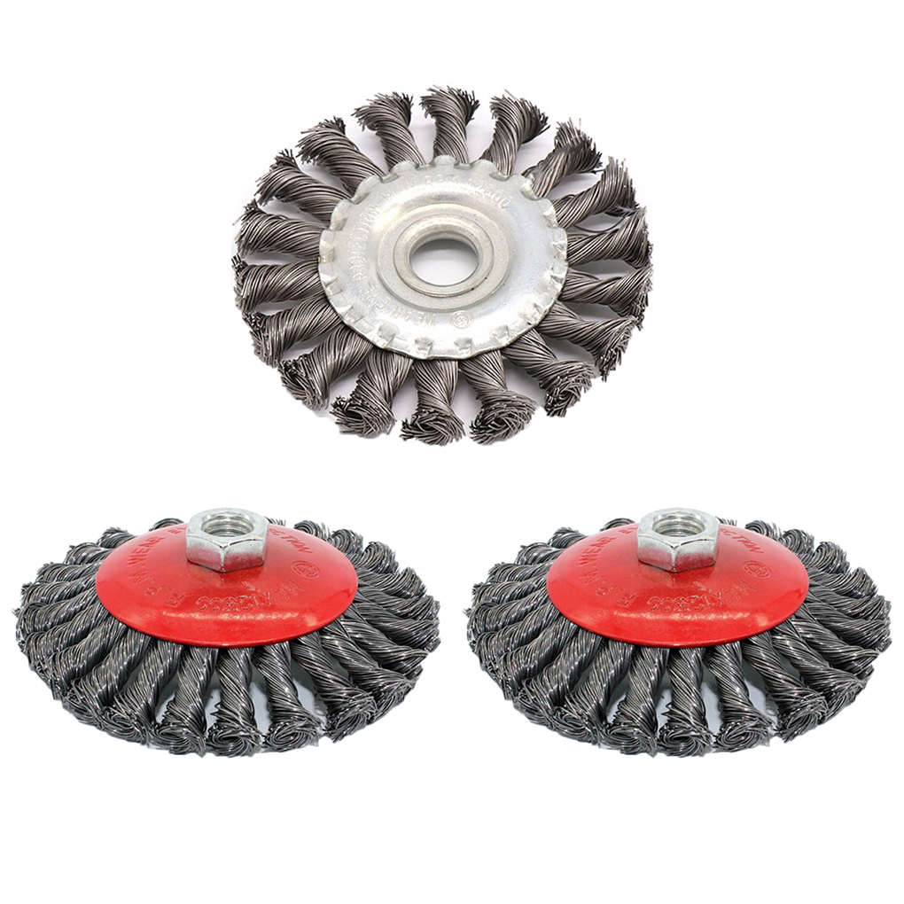 4 Pcs Rotary Knot Flat Cup Steel Wire Wheel Brush Set for Angle Grinder Removal