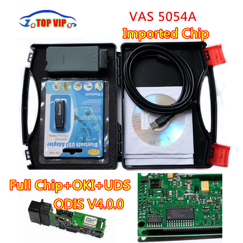 DHL Free 2018 Best Quality VAS 5054A Imported full chip with OKI VAS5054A ODIS V4.0.0 Bluetooth Support UDS diagnostic tool 2017 dhl free original import chip new top multi language vas 5054a scanner version vas5054 vas 5054 bluetooth vas5054a