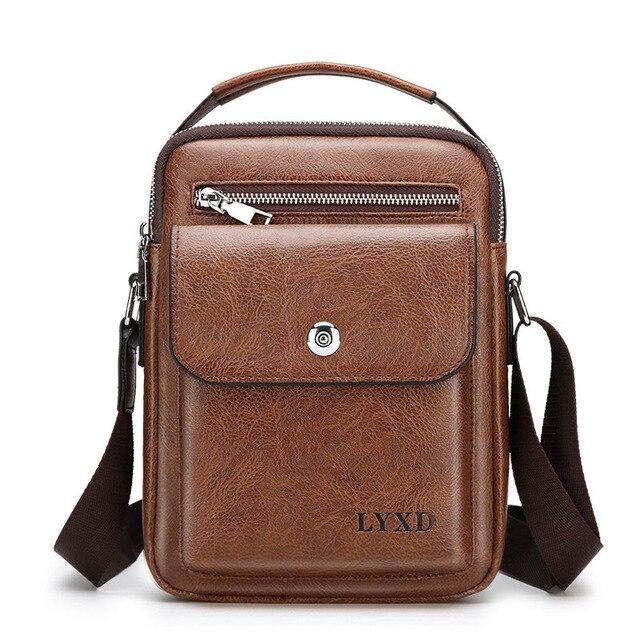 Men's PU Material Retro Style Multi-Function Small Crossbody Bag Casual Zipper Simple Design Business Travel Shoulder Bag