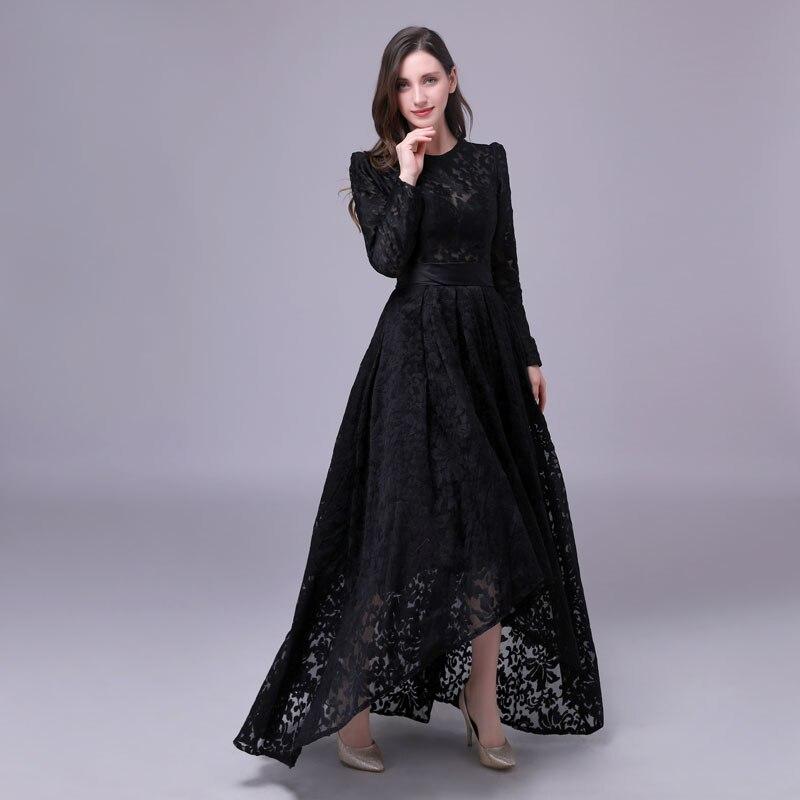 2019 long maxi dresses Robe De Soiree hot sale lace bridal dresses black dresses prom formal dress asymmetrical dress high low in Dresses from Women 39 s Clothing