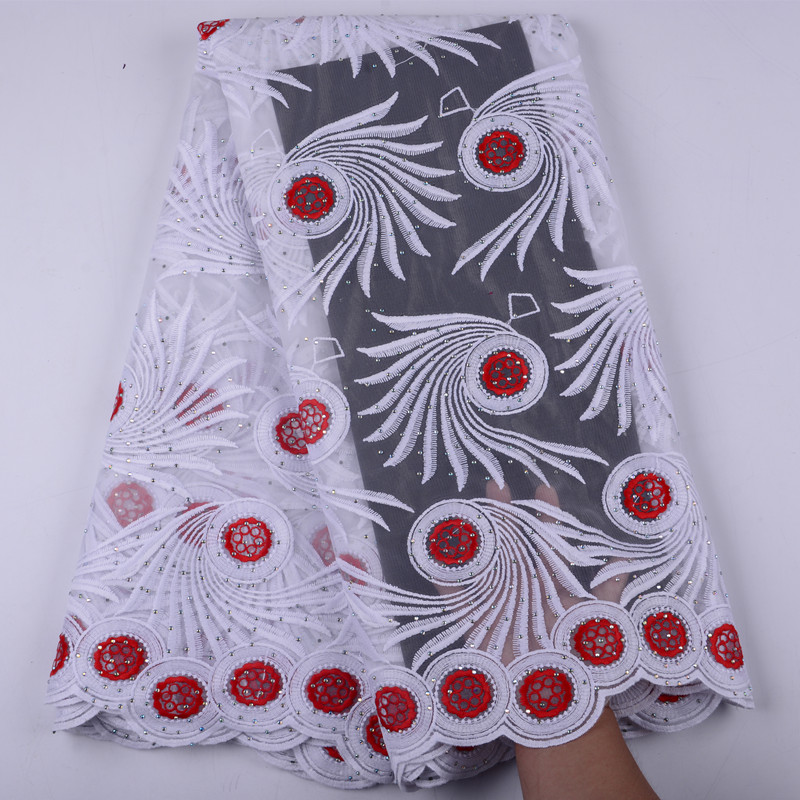 Fast Shipping Soft African Milk Silk Lace Fabric 2019 High Quality White Red French Net Lace
