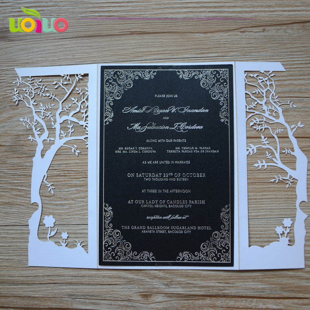 Free Shipping 50set Inc25 White Tree Wedding Invitation