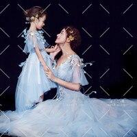 Big Size Family Matching Wedding Dresses Mom and Daughter Dress Tutu Maxi Skirt Summer Beach Family Clothing Girl Princess Dress