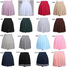 Women's Skirts Ladies Kawaii Pleated Cos Macarons Solid Color High Waist