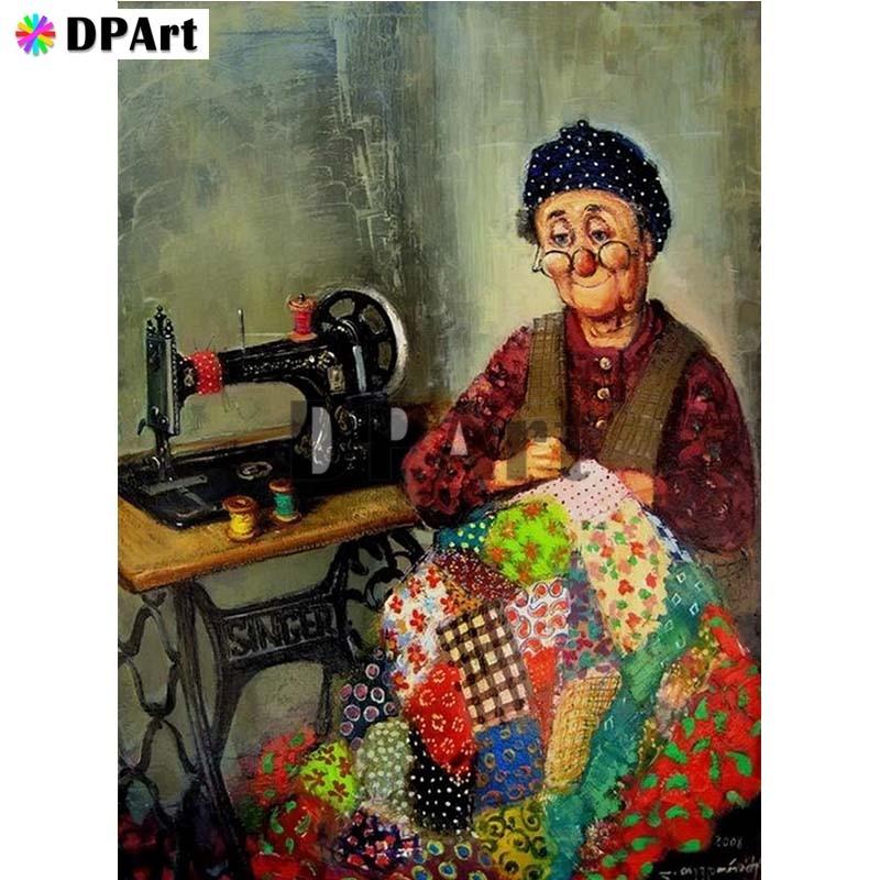 Diamond Painting 5D Full Square/Round Drill Sewing Machine Grandma Daimond Embroidery Painting Cross Stitch Mosaic Pic M984(China)