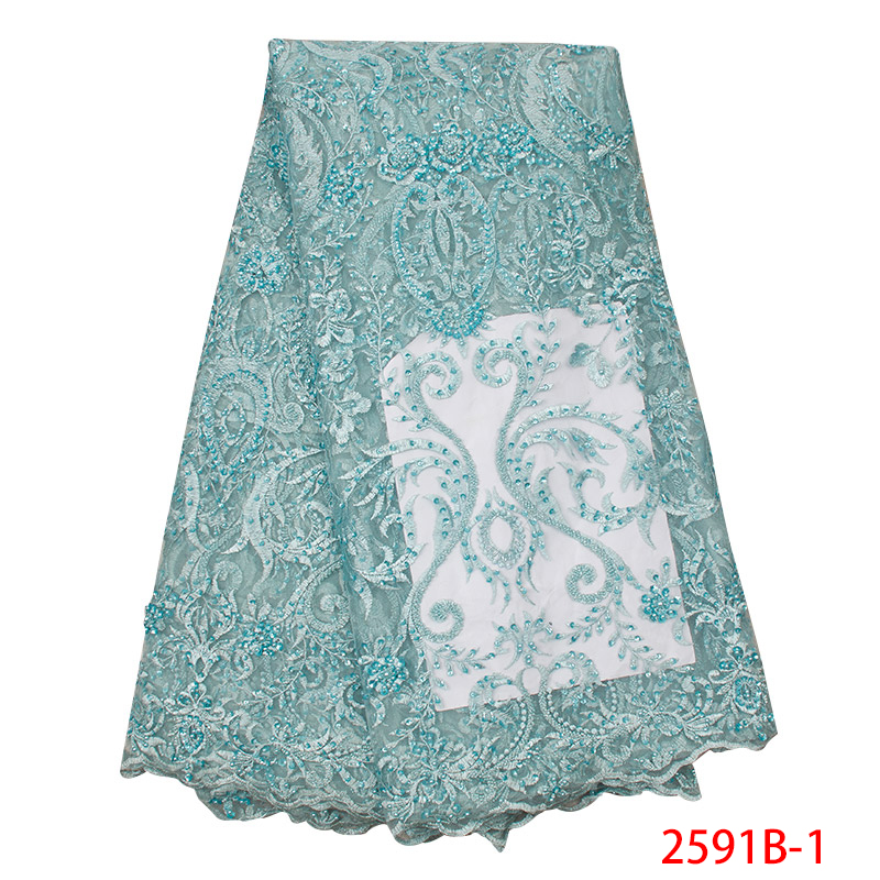 African Lace Fabric Best Selling 2019 Embroidery French Tulle Net  Nigerian Lace Fabrics With Beads For Dress KS2591B-1