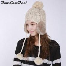 BooLawDee winter women knit pompom beanie watch cap with ear cuffs elastic  55-65cm red 8ecaf59e0725