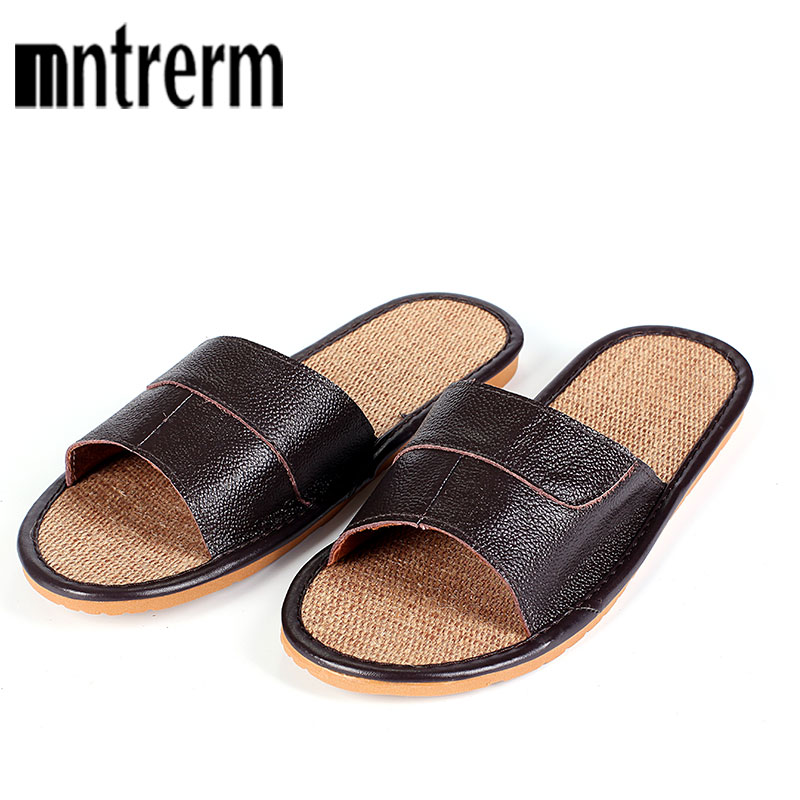 2018 New Famous Brand Casual Men Slippers Shoes Summer Leather Slippers Summer  Linen Sole Shoes  Flip Flops Fast Shipping
