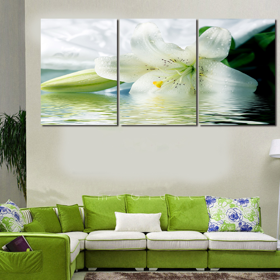 online get cheap large flower posters aliexpress com alibaba group 3 panels lotus white flowers canvas hd large print picture wall painting elegant modern home decor poster artwork unframed