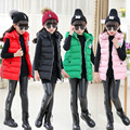 New winter Fashion Baby Girls Clothes Down Vests Waistcoat Children Down Jacket Hooded Cotton Vests Kids all-match Coats4-12y