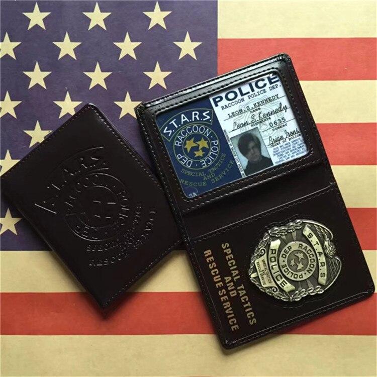 f84908488b3ae Cosplay Resident Evil gwiazdy policji Leon metalowa plakietka skórzane etui  uchwyt na karty ID jazdy portfele