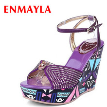 ENMAYLA New Women Shoes Top Quality 2017 Summer Sandals Shoes Woman Open Toe Size 39 Platform Shoes High Heels Wedges Shoe new stylish women sandals 2017 open toe thin heels sandals high quality multicolors shoes woman plus us size 4 15