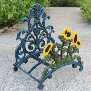 European Vintage Black With Yellow Green Hand Paint Sunflower Design Home Garden Decor Cast Iron Mounted Wall Water Pipe Holder