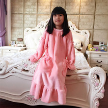Nightgowns For Child Winter Long Nightdress Flannel pajamas Robe warm kids 's lounge Nightwear