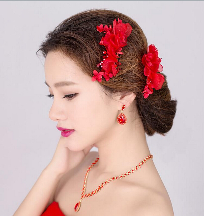 Wedding Flower For Hair: Red Flower Hair Accessories Wedding Decoration Crystal