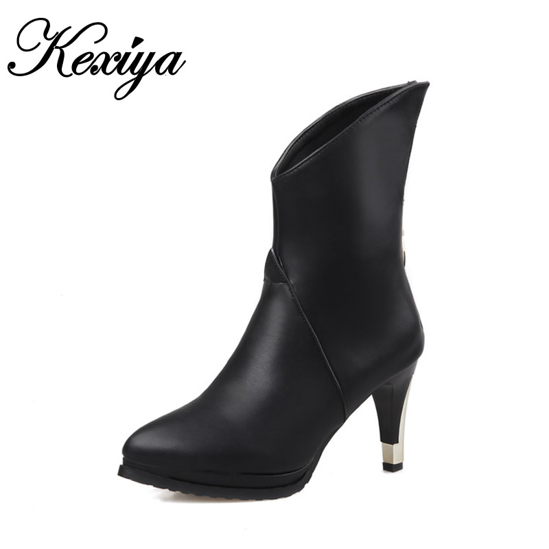2015 New winter women boots fashion big size 30-50 solid PU leather Platform high heel shoes Pointed Toe Mid-Calf boots HQW-286 new 2016 fashion women winter shoes big size 33 47 solid pu leather lace up high heel ankle boots zapatos mujer mle f15