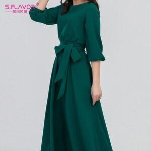 Image 4 - S. Lezzet yeşil renk kadın o boyun uzun elbise bohem stili İnce Vestidos Vintage 3/4 fener kol rahat kış elbise