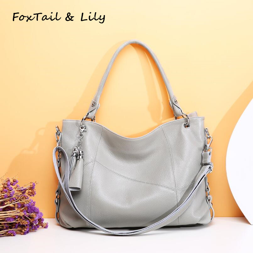 FoxTail & Lily Brand Designer Genuine Leather Ladies Patchwork Handbags Popular Tassel Women Shoulder Messenger Crossbody Bags foxtail