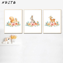 Woodland Animal Flower Art Canvas Poster Nursery Wall Painting Print Deer Squirrel Decoration Picture Nordic Kid Baby Room Decor