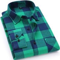 2016 New Mens Plaid Shirt 100 Cotton High Quality Mens Business Casual Long Sleeve Shirt Male