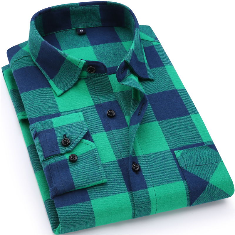2019 New Mens Plaid Shirt 100% cotone di alta qualità Mens Business Casual camicia a maniche lunghe maschile vestito sociale Camicie Flanella