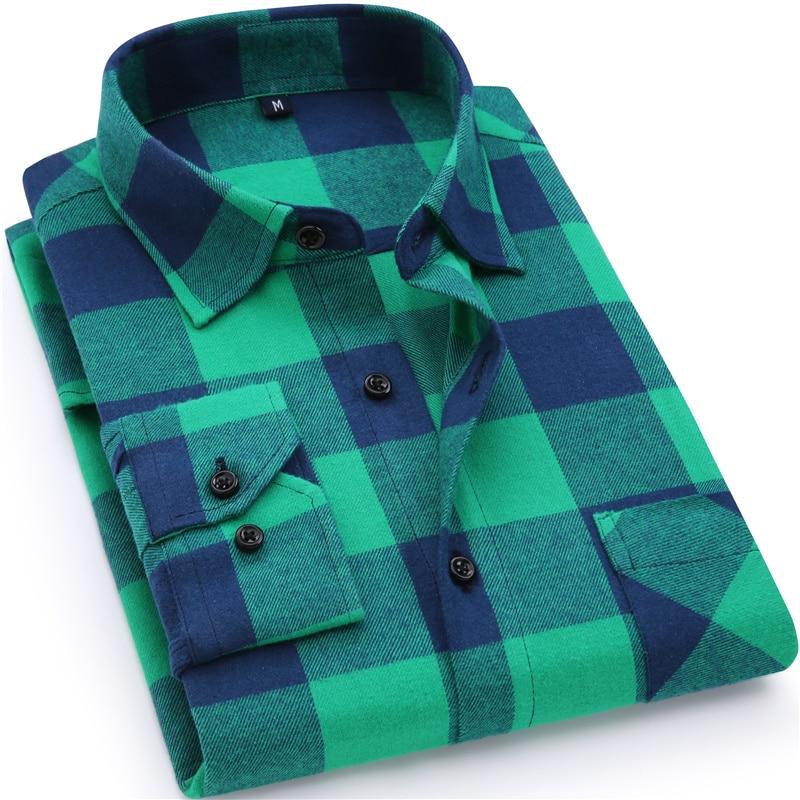 22e3d8c1ede 2019 nuevo Mens camisa 100% algodón de alta calidad para hombre Casual de  negocios de camisa de manga larga Hombre Social camisas de franela