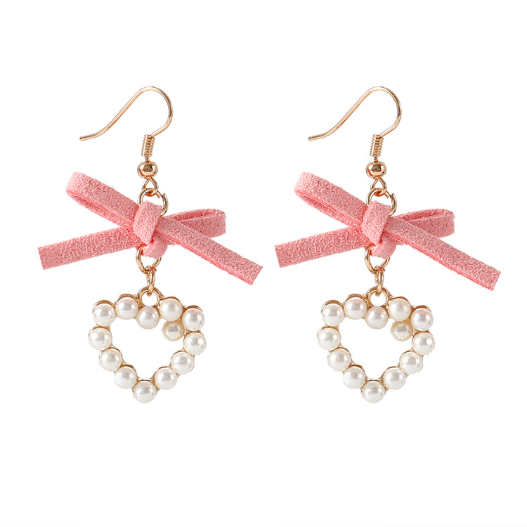 Big Discounts Fashion New Earrings Simple Geometry Wild Pink Cloth Bow Pearl Love Ladies Earrings Wholesale Sales Earrings Pink(China)