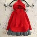 Nuevo 2015 otoño invierno de la borla ocasional de lana de punto suéter de las muchachas niños lindos suéteres de las muchachas de cabo suit 2 ~ 7 age ropa bebé