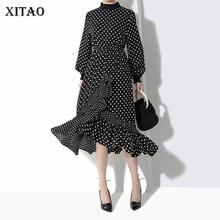 XITAO Pot Плиссированное Бандажное платье Женская корейская мода новинка Лето о-образный вырез темперамент дикий Джокер корейская мода WBB1699