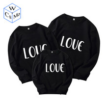 """LOVE""Print Family Matching Clothes Sweatshirts Matching Outfits Pullovers Dad Mother Son Outfits Couples Matching Clothing Tops(China)"