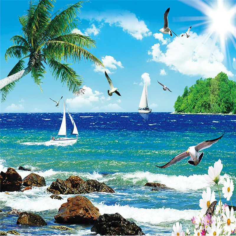 custom photo wall paper Luxury Quality HD Seagull sea island blue sky palm sailboat 3d l ...