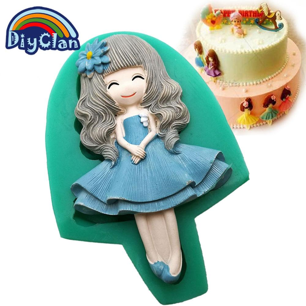 Ny 12 stil smuk pige fondant forme kage dekorationsværktøj silikone forme til chokolade polymer ler harpiks skimmel bage værktøjer