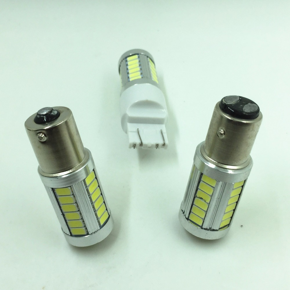 2PCS White Projector Lens 1156 BA15S 33-SMD 5630 Replacement LED Auto Car Vehicle Reverse Tail Light Bulbs Plug & Play