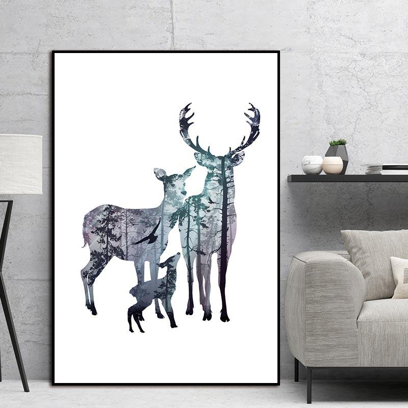 Cuadro de pintura de arte de lienzo, silueta de familia de ciervos con imagen de pared de bosque de pinos para decoración del hogar, decoración del hogar sin marco