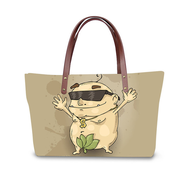 Cartoon Illustrations Print Las Handbag Women Lovely Note Pattern Handbags Messenger Bag Purse