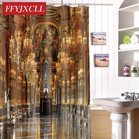 Home Decoration Luxury Palace Print Polyester Fabric Modern Shower Curtain Eco Friendly Waterproof Bathroom Curtain