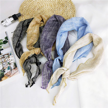Solid Color Simple Triangle Scarves for Women Head Bandage Handkerchief Cachecol Female Bag Echarpe Decoration Accessories