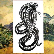 Nu-TATY Black Mamba Cobra Snake Temporary Tattoo Body Art Arm Flash Tattoo Stickers 17*10cm Waterproof Fake Henna Painless